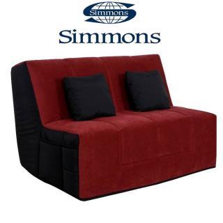 Canapé convertible BZ WELL microfibre rouge/noire système Slyde matelas SIMMONS ELIVEA 15cm