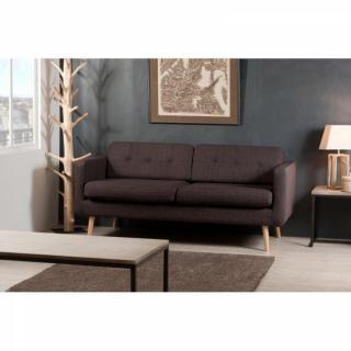 Canapé 3 Places OMEGA en Tissu Marron Style Scandinave