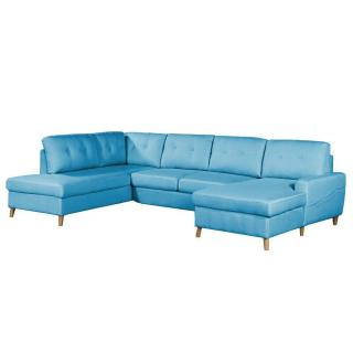 Canapé d'angle panoramique gigogne convertible CIOLA méridienne coffre droite tissu tweed bleu azur