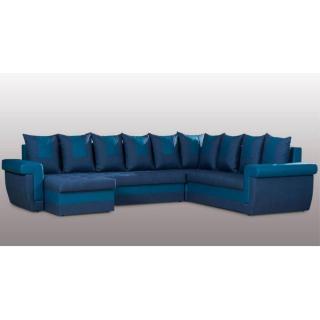 Canapé convertible express DEMOS angle panoramique en bi-matière bleu