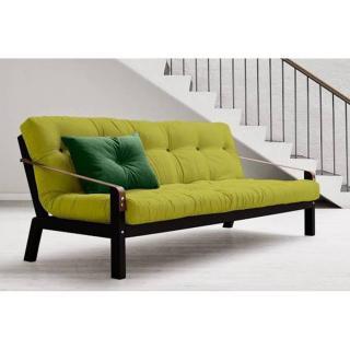 Canapé noir 3/4 places convertible POETRY matelas futon 130*190cm