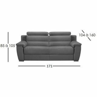 RELAXO canapé 2 places relax électrique, cuir ou tissu avec système zéro wall