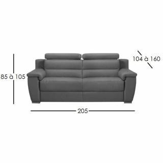 RELAXO divano 3 posti relax, pelle o tessuto con sistema zero wall