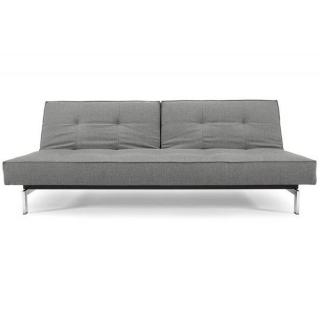 INNOVATION LIVING  Canapé Sofa SPLITBACK  CHROME convertible lit 115*200 cm tissu Flashtex Dark grey