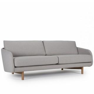 Canapé 3 places TREND tissu gris clair piétement chêne clair