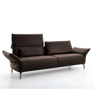 Canapé 3 places haut de gamme VANDA de KOINOR 220cm pieds laqués noir dossiers et accoudoirs réglables
