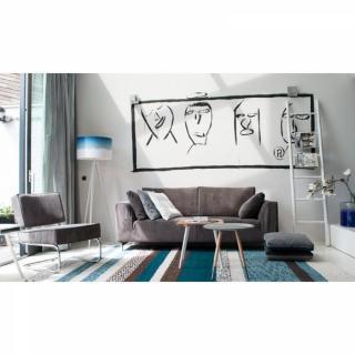 ZUIVER Canapé DRAGON RIB, 3 places tissu gris vintage