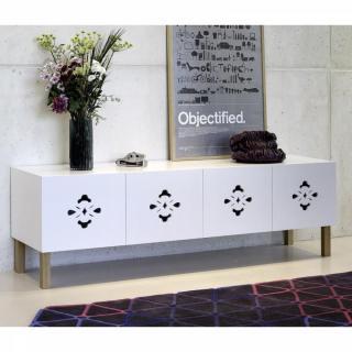 TemaHome SCATOLA buffet spacieux blanc mat avec portes piétement en bois