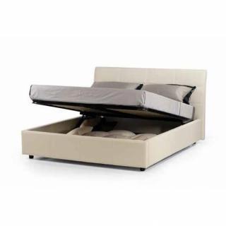 Lit Coffre Design CESARE couchage 2 personnes 180*200cm en cuir, tête de lit capitonnée.