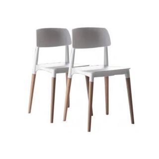 Lot de 2 chaises ARTIKA empilables blanche et hêtre massif