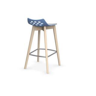 Tabouret de bar JAM W  bleu ciel avec piétement en bois naturel