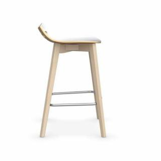 Tabouret De Bar JAM W Jaune Moutarde Avec Pietement En Bois Naturel