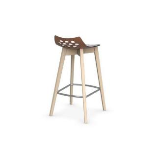 CALLIGARIS Tabouret de bar JAM W  orange transparent avec piétement en bois naturel