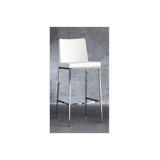 chaise de bar ERIK en cuir éco blanc, piétement chromé.