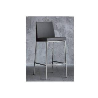 chaise de bar ERIK en cuir éco gris, piétement en acier.