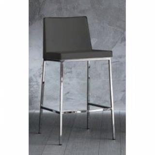 chaise de bar ERIK en cuir éco gris titane, piétement chromé.