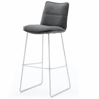 Lot de 2 chaises de bar design HALSOU tissu anthracite et pieds acier brossé