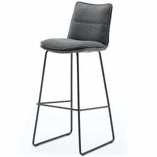 Lot de 2 chaises de bar design HALSOU tissu anthracite et pieds métal laqué noir