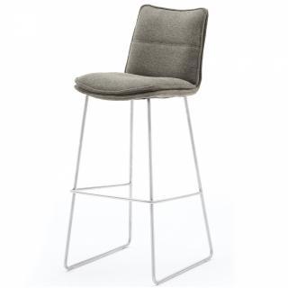 Lot de 2 chaises de bar design HALSOU tissu cappuccino et pieds acier brossé