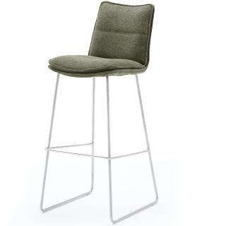 Lot de 2 chaises de bar design HALSOU tissu olive et pieds acier brossé