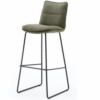Lot de 2 chaises de bar design HALSOU tissu olive et pieds métal laqué noir