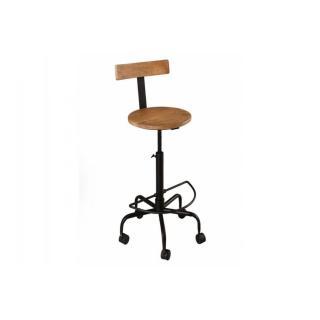 Chaise de bar industrielle RAPHAEL en fer et bois de manguier