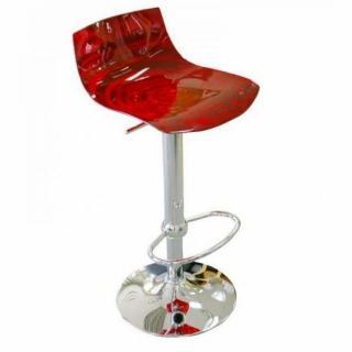 Chaise de bar design L'EAU en polycarbonate rouge transparent