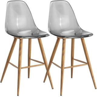 Lot de 2 Chaises de bar design scandinave OSANA en polycarbonate fumé