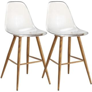 Lot de 2 chaises de bar design scandinave OSANA en polycarbonate transparent