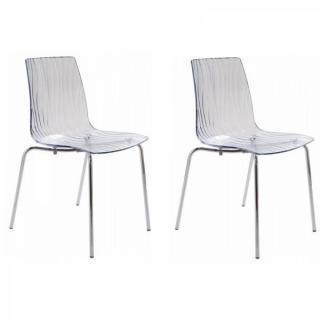 Lot de 2 chaises CALIMA empilable design transparente