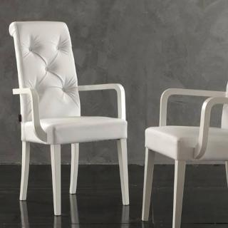 Chaise BILLIONAIRE P revêtement polyuréthane façon cuir blanc