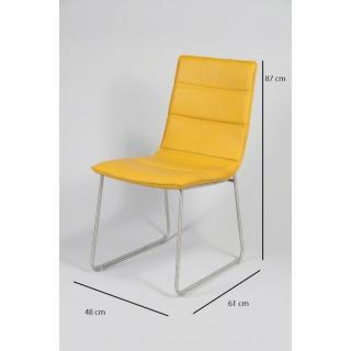 Chaise design ergonomique et stylis e au meilleur prix for Chaise cuir jaune