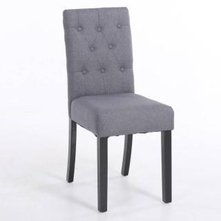 Chaise capitonnée DAGOBERT en lin gris