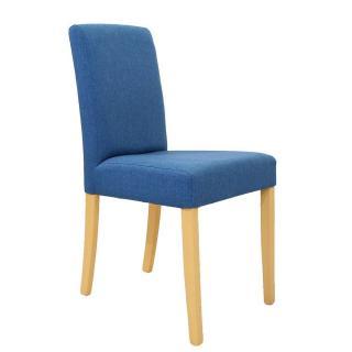 Chaise design BORG tissu bleu piétement naturel