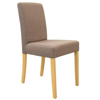 Chaise design BORG tissu taupe piétement naturel