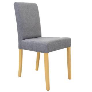 Chaise design BORG tissu gris silex piétement naturel