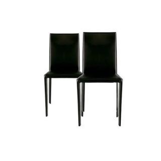 Lot de 2 chaises design CATHY en tissu enduit polyuréthane simili façon cuir
