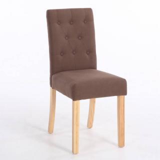 Chaise capitonnée DAGOBERT en lin marron
