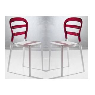 Lot de 2 chaises design DEJAVU en plexiglas rouge et blanc