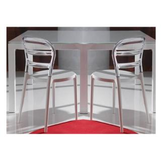 Lot de 2 chaises design DEJAVU en plexiglas transparent et blanc