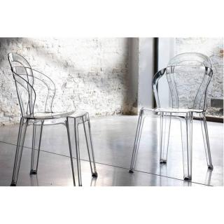 Lot de 2 chaises design RAINBOW en plexiglas transparent