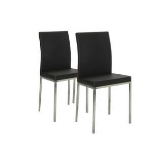 Lot de 2 chaises design FLUX en tissu enduit polyuréthane simili façon cuir noir