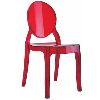 Chaise médaillon IMPÉRATRICE style Louis XVI en polycarbonate transparent coloris rouge