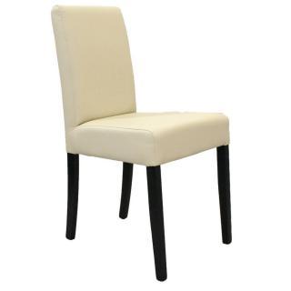 Chaise design BORG similicuir pu ivoire piétement noir
