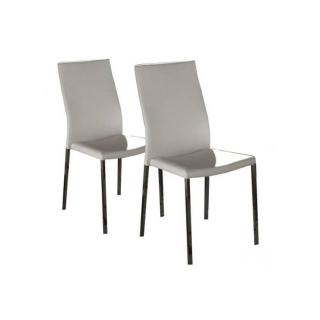 Lot de 2 chaises design HELLEN en tissu enduit polyuréthane simili façon cuir blanc et  acier chromé