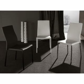 Lot de 2 chaises design HELLEN polyuréthane façon cuir blanc et acier chromé