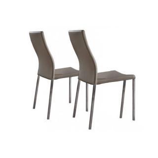 Lot de 2 chaises design HELLEN en tissu enduit polyuréthane simili façon cuir taupe et acier chromé