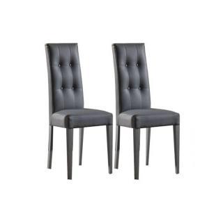 Lot de 2 chaises design italienne FOUR SEASONS en tissu enduit polyuréthane simili façon cuir
