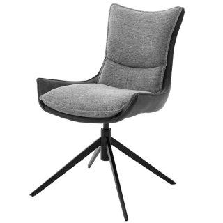 Chaise design KITAMI tissu gris anthracite pieds noir