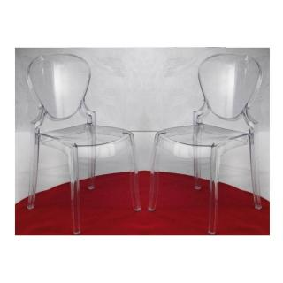 Lot de 2 chaises design LIGHT en plexiglas transparent